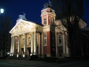 "Nationaltheater ""Iwan Wasow"" bei Nacht"